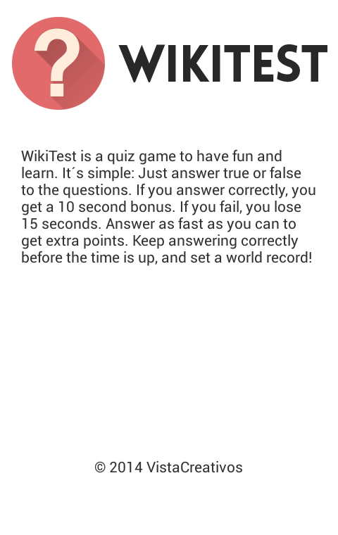 WikiTest (Trivia Quiz Game)- screenshot