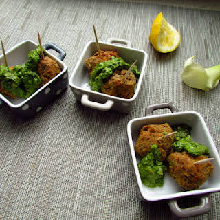 Vegetarian Lentil and Chickpea Meatballs with Lemon Pesto.