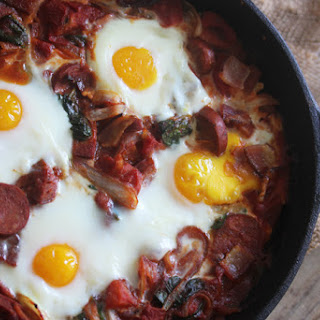 Saucy Bacon & Chorizo Baked Eggs