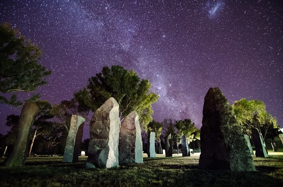 Standing Stones - ONE by Daryl James - Landscapes Starscapes ( glenn innes, stars, night )