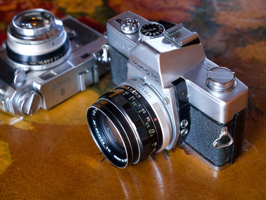 Old Friends by Alan Roseman - Artistic Objects Antiques ( manual, old camera, minolta, 35mm, camera, old time, konica, slr, range finder )