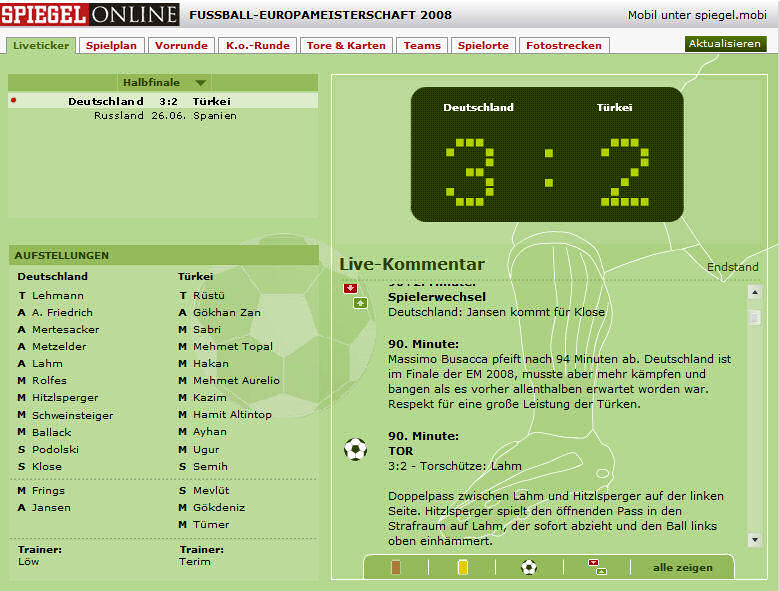 SPIEGELOnline Liveticker (Deutschland - Türkei)