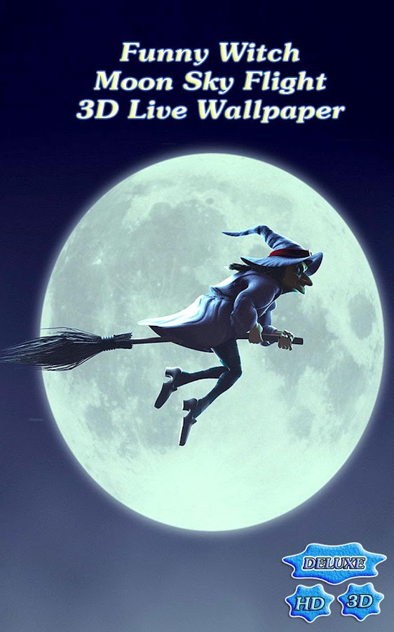 Funny Witch Moon Sky Flight 3D- screenshot