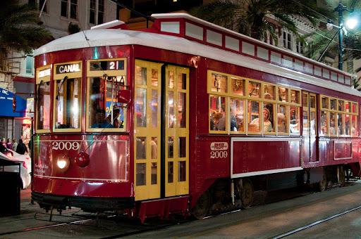RTA-streetcar-Canal-Street-New-Orleans - RTA Streetcar No. 2009 on Canal Street in New Orleans.