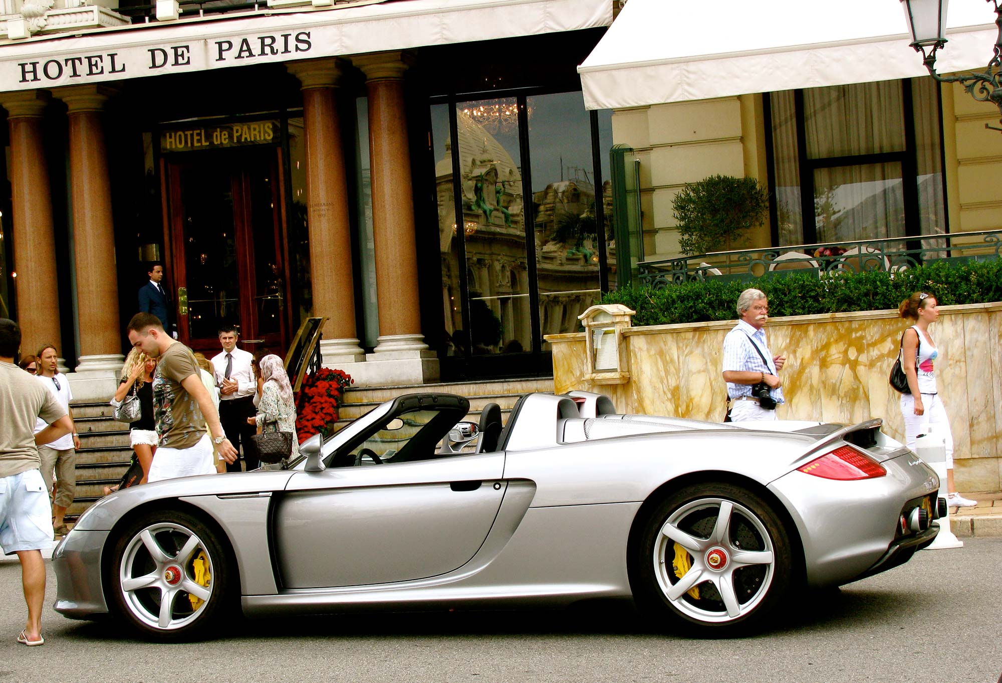 A Porsche Carrera GT outside the Hotel de Paris in Monte Carlo.