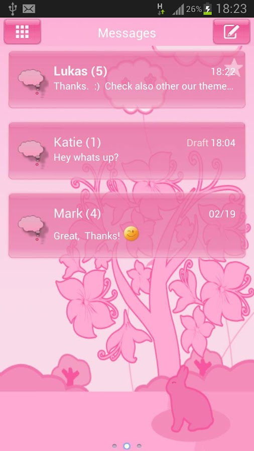 GO SMS Pro Theme Pink Animal - screenshot
