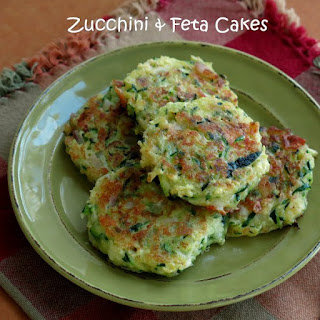 Zucchini Cakes with Feta and Red Onion.