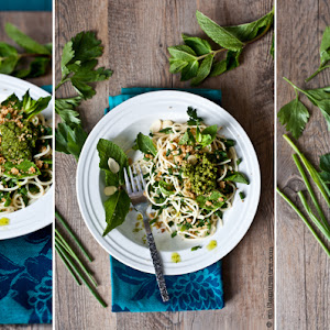 Pasta with Fresh Herbs, 4 Nuts & Cheese Pesto
