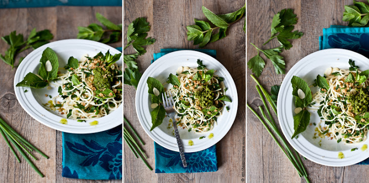 Pasta with Fresh Herbs, 4 Nuts & Cheese Pesto Recipe