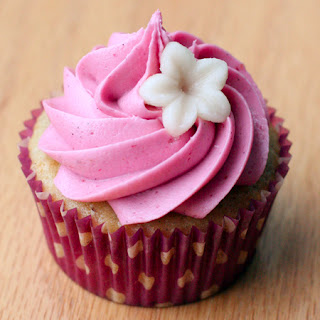 Vanilla Almond Cupcakes with Blackberry Buttercream