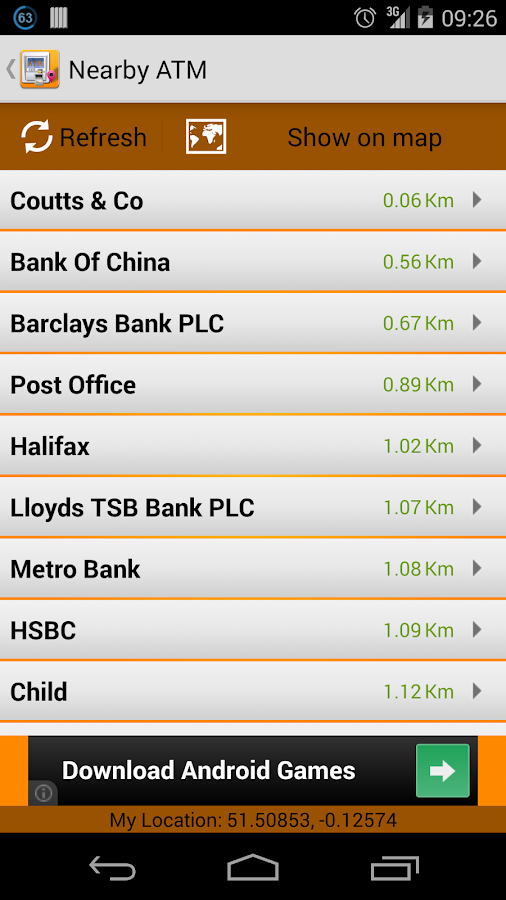 Nearby ATM (bank Locator)- screenshot
