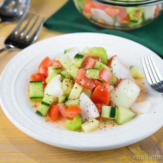 Tomato, Cucumber Onion Salad.