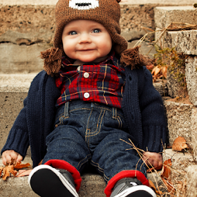 Getting ready to climb these steps by Joseph Humphries - Babies & Children Babies ( blueeyes, stairs, foliage, bearhat, fall, baby, steps, smile, flannel, fallcolors, hat )