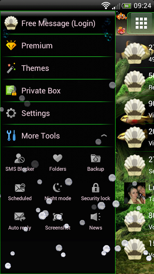 Aquarium GO SMS Theme- screenshot