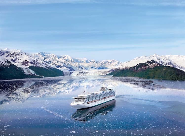 Diamond Princess sails through College Fjord, Alaska.