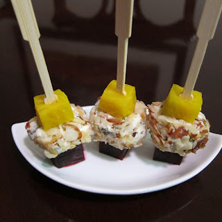 Roasted Beet and Goat Cheese Skewers.