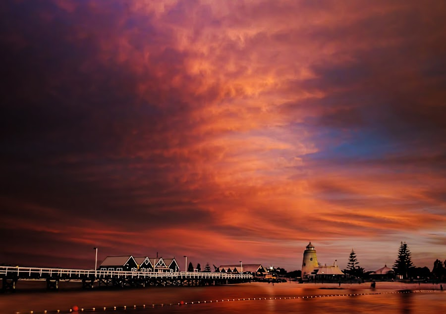 Long Kiss Goodnight by Julia Harwood - Landscapes Sunsets & Sunrises ( busselton, nautical lady, sunset, sea, ocean, beach, jetty,  )