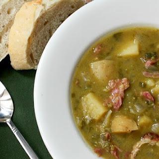 Slow Cooker Split Pea, Potato, Ham and Leek Soup.