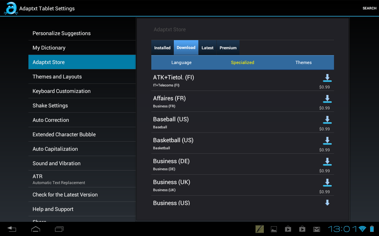 Adaptxt Tablet Keyboard - Free - screenshot