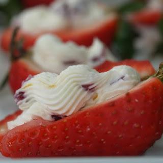 Strawberries Stuffed With Cranberry Mascarpone.