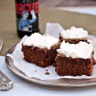 Irish Beer Brownies With Mint Sour Cream Frosting