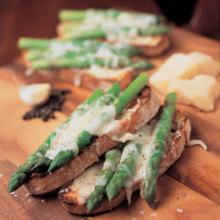 Grilled Bruschetta with Asparagus and Parmesan Cheese.