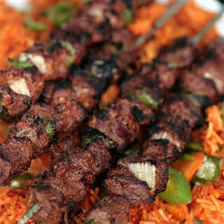 Ghanaian Jollof Rice & Beef Kebab.