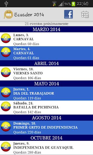 Calendario Feriados Ecuador