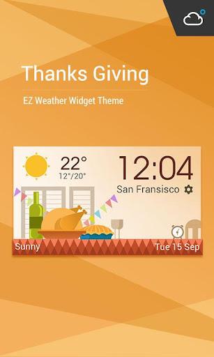 感恩節主題時鐘天氣小工具﹣琥珀天氣,最贊的天氣小工具!