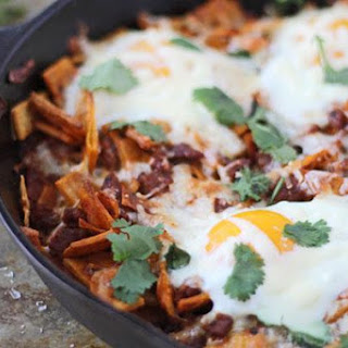 Baked Chilaquiles With Chorizo And Eggs.