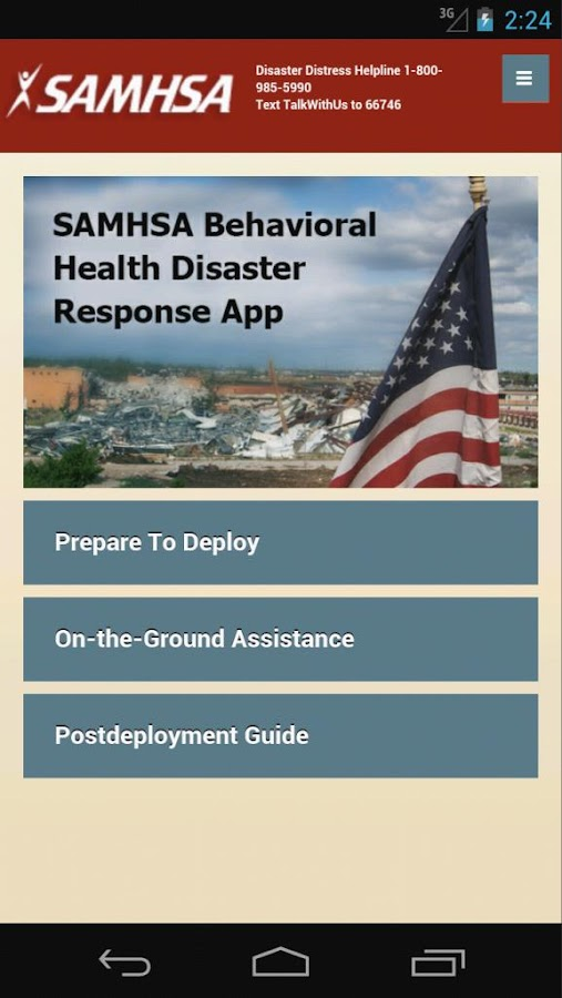 SAMHSA Disaster App- screenshot