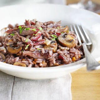 Red Wine Risotto With Duck & Garlicky Mushrooms.