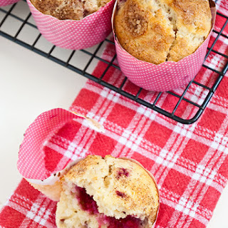 Raspberry & Rhubarb Breakfast Muffins.