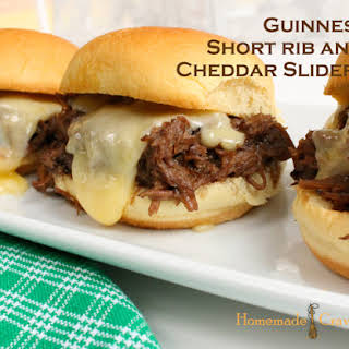 Slow Cooker Guinness Short Rib and Cheddar Sliders.