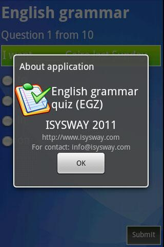 English Grammar quiz (EGQ)- screenshot
