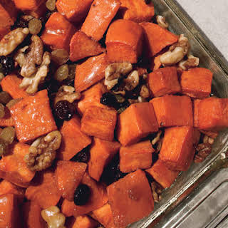 Garnet Yams with Maple Syrup, Walnuts, and Brandied Raisins.