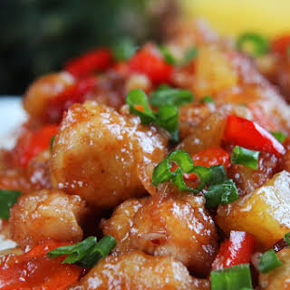 Baked Sweet and Sour Chicken, Pineapple and Peppers.