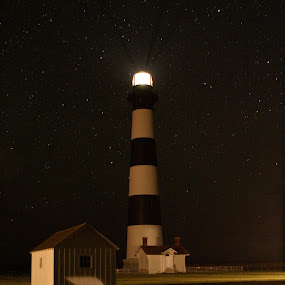 Bodie Island Lighthouse, North Carolina by Ken Miller - Buildings & Architecture Public & Historical ( night photography, night scene, outer banks, star light, lighthouse, night shot, coast, nightscape, north carolina,  )