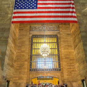 Grand Central Station  by Sandy Friedkin - Buildings & Architecture Public & Historical ( sightseers, vanderbuilt ave entrance, chandeleer, grand central station, travellors,  )