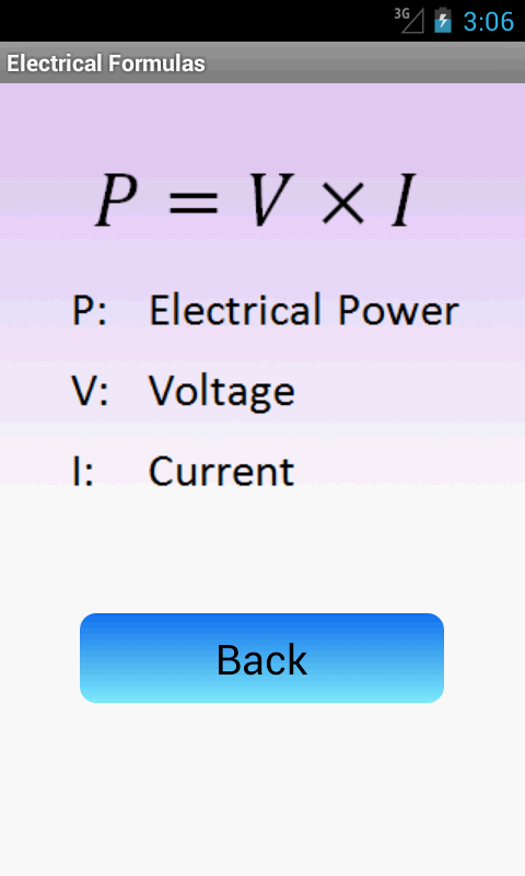 Electrical Formulas - screenshot