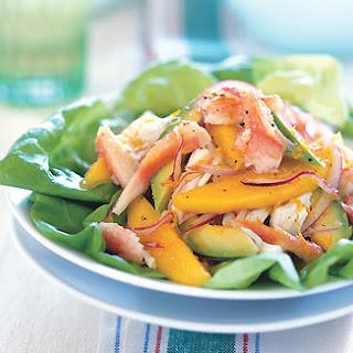 Crab, Mango, and Avocado Salad with Citrus Dressing.