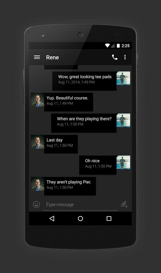 EvolveSMS Theme Hangout Dark - screenshot