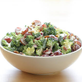 Balsamic Broccoli Salad with Grapes and Pecans.
