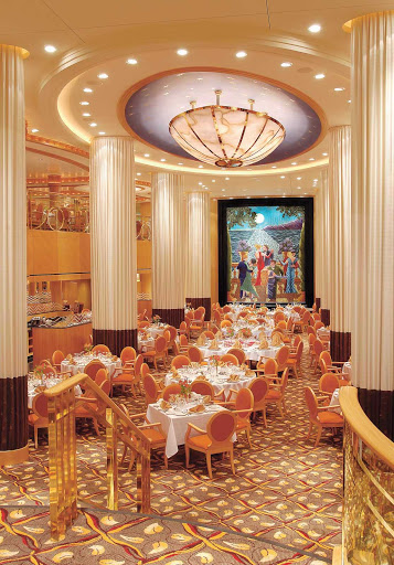 Jewel-of-the-Seas-Tides-dining-room - Tides, the main dining room on Jewel of the Seas, is decorated with large curtain-clad pillars that give it the look of great ocean liners of generations past and present.