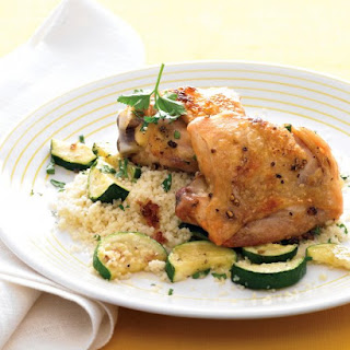 Roasted Chicken Thighs with Zucchini and Couscous.