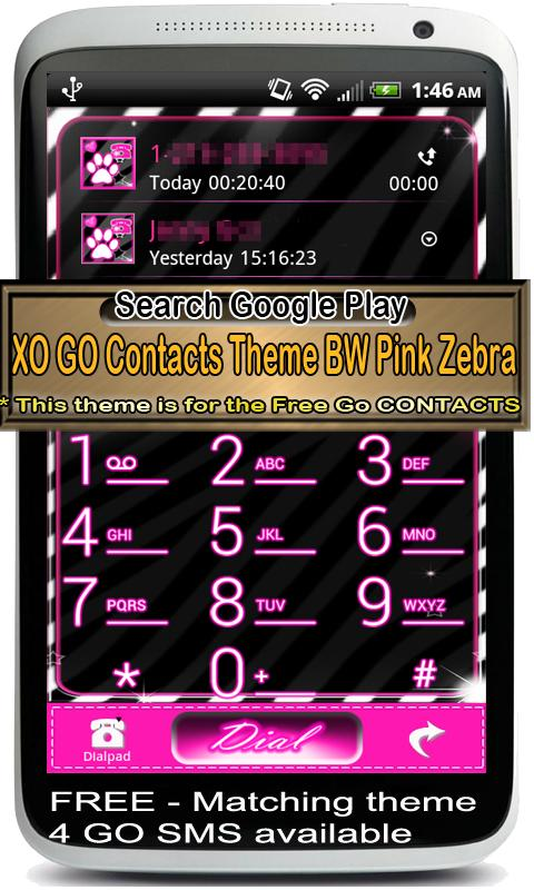 Go Contacts - Pink Zebra Theme - screenshot