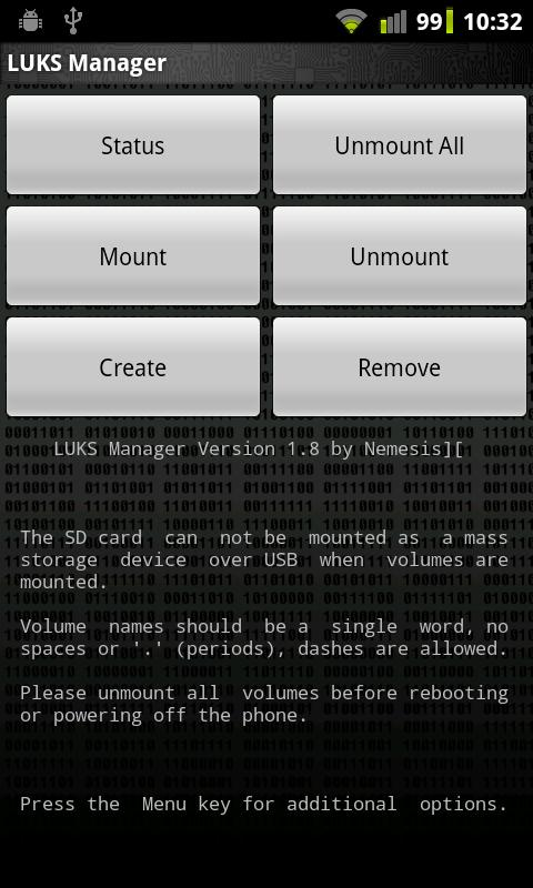 LUKS Manager- screenshot