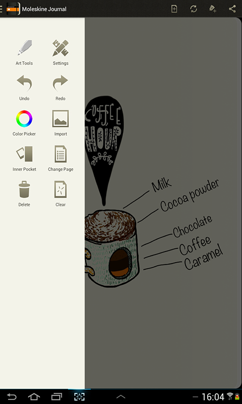 Moleskine Journal- screenshot