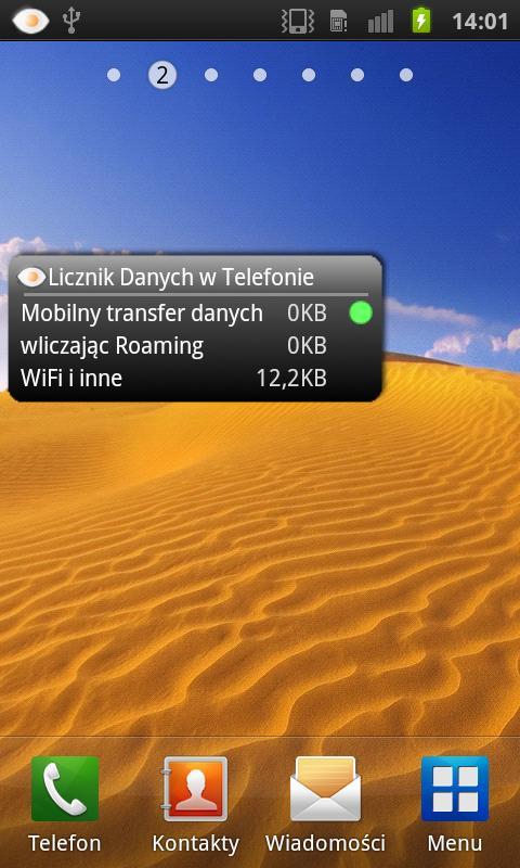 Licznik Danych w Telefonie- screenshot