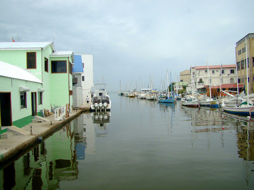 The Belize City canal in Belize.